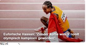 """Euforische Hassan: """"Zonder koffie was ik nooit olympisch kampioen geworden"""" (bron NU.nl)"""